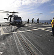 A Helicpter Sits On The Flight Deck Art Print