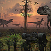 A Herd Of Allosaurus Dinosaur Cause Art Print