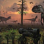A Herd Of Allosaurus Dinosaur Cause Art Print
