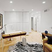 A Home Office. A Black And White Zebra Art Print