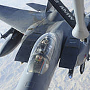 A Kc-135 Stratotanker Refuels An F-15e Art Print by Stocktrek Images