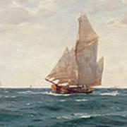 A Ketch And A Brigantine Off The Coast Art Print