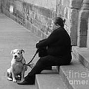 A Lady With Her Dog In Barcelona Art Print