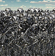A Large Gathering Of Robots Art Print