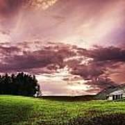 A Lonely Farm Building In An Open Field Art Print