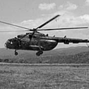 A Macedonian Mi-17 Helicopter Landing Art Print