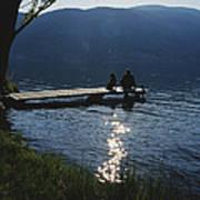 A Man And His Dog On A Lake Skaha Dock Art Print
