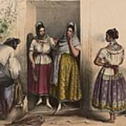 A Man And Three Women From Puebla Art Print