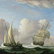 A Man-o'-war In A Swell And A Sailing Boat Art Print