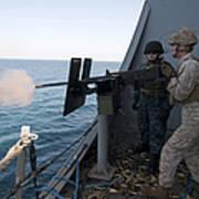 A Marine Fires A .50-caliber Machine Art Print