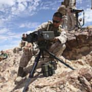 A Marine Sets Up A Laser Designator Art Print by Stocktrek Images