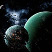 A Massive Space Station Orbits A Large Art Print