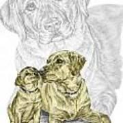 A Mothers Love - Labrador Dog Print Color Tinted Art Print