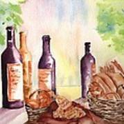 A Nice Bread And Wine Selection Art Print by Sharon Mick