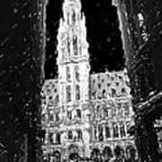 A Night On The Grand Place Art Print
