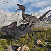 A Pack Of Velociraptors Attack A Lone Art Print
