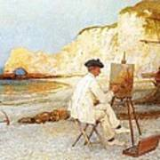 A Painter By The Sea Side Art Print