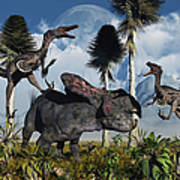 A Pair Of Velociraptors Attack A Lone Art Print