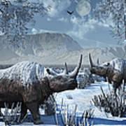 A Pair Of Woolly Rhinoceros In A Severe Art Print