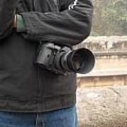 A Photographer With His Digital Camera On Location At A Historical Monument Art Print