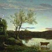 A Pond With Three Cows And A Crescent Moon Art Print