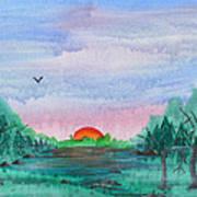A Rainy Misty Sunrise Art Print