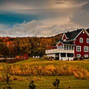 A Red Farmhouse In A Fallscape Art Print