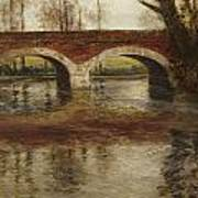A River Landscape With A Bridge  Art Print