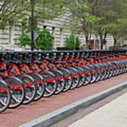 A Row Of Red Bikes Art Print