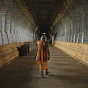 A Sadu Walks Through Rameswaram Temples Art Print