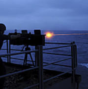 A Sailor Fires A .50-caliber Machine Art Print