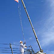 A Sailor Lowers The U.s. Navy Jack Art Print