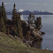 A Scenic View Of Yellowstone Lake Art Print