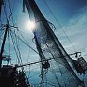 A Shrimping Boat Off The Coast Art Print