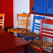 Colorful Table And Chairs Greece Art Print