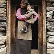 A Smiling Bhutanese Woman And Child Art Print