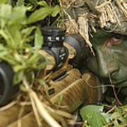 A Sniper Dressed In A Ghillie Suit Art Print