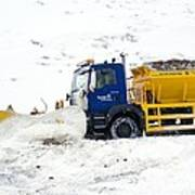 A Snow Plough Clearing A Road Art Print by Duncan Shaw