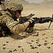 A Soldier Clears The Mk-48 Machine Gun Art Print