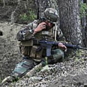 A Soldier Communicates His Position Art Print