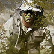 A Soldier Practices Evasion Maneuvers Art Print