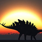 A Stegosaurus Silhouetted Art Print