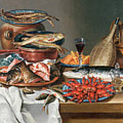 A Still Life Of A Fish Trout And Baby Lobsters Art Print