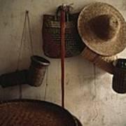 A Straw Hat, Straw Baskets And A Belt Art Print