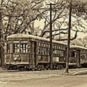 A Streetcar Named St. Charles Sepia Art Print