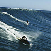A Surfer And Jet-skier Off The North Art Print