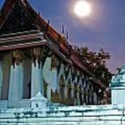 A Tempel In A Wat During A Full Moon Night  Art Print