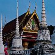 A Temple In A Wat Monestry In Tahiland Art Print