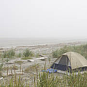 A Tent Sits In The Dunes By The Beach Art Print by Taylor S. Kennedy