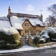 A Thatched Cottage In The Cotswolds  Art Print by Andrew  Michael